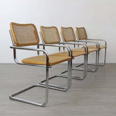 Set of 4 Cantilevered Tubular Dining Chairs, 1970s