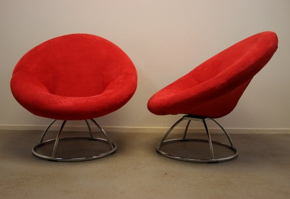 Pair of round turnable chairs in red, 1990s