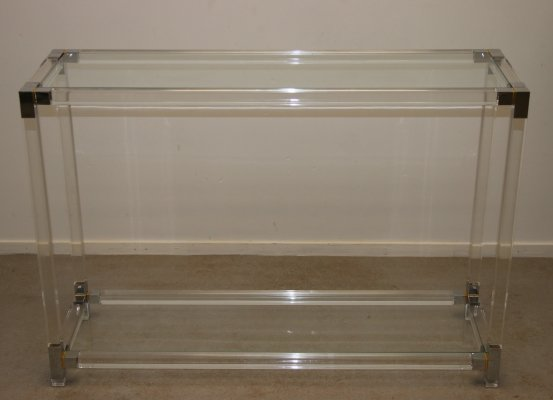 Lucite Plexiglass side table with silver corners, 1980s