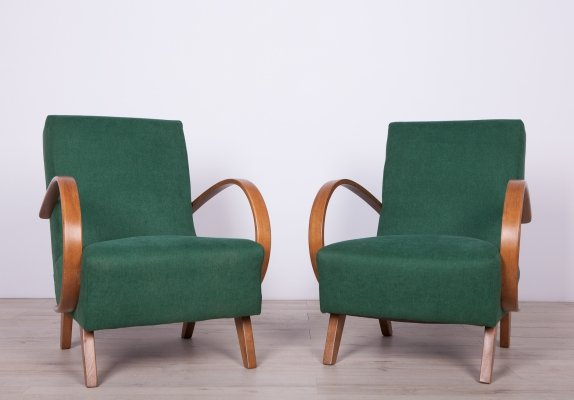 Pair of Model 2 Armchairs by Jindřich Halabala for UP Závody, 1950s