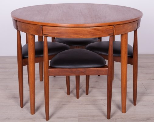 Mid-Century Teak Dining Table & 4 Chairs set by Hans Olsen for Frem Røjle, 1950s