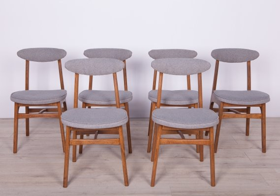Set of 6 Beech & Fabric Model 200-190 Dining Chairs by Rajmund T. Hałas,1960s