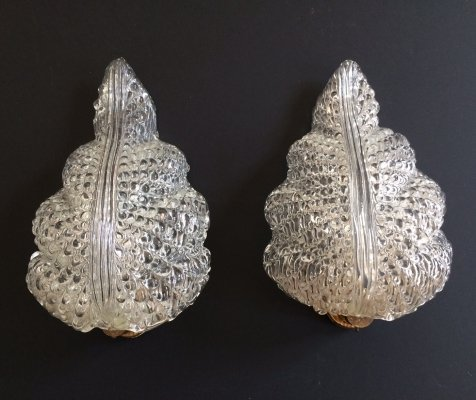 Pair of Vintage Barovier & Toso Murano glass Leaf Sconces, Italy 1950's