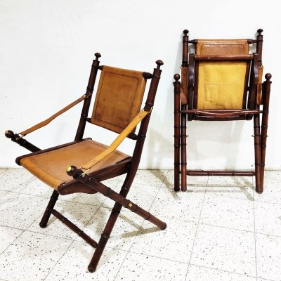Pair of vintage military leather campaign chairs, 1960s