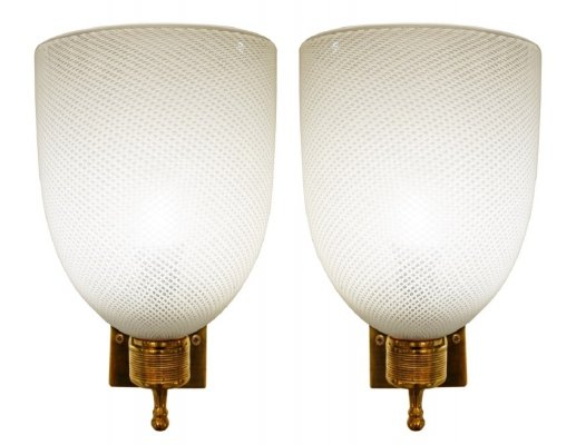 Pair of Brass & glass sconces, 1950