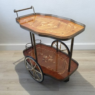 Italian brass trolley bar cart with wooden inlay & faux bamboo, 1950s