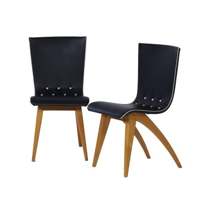 Pair of Dutch Dining Chairs in Bent Maple Wood by Van Os, 1950s