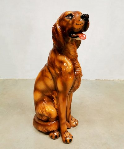 Vintage ceramic statue of Irish setter, 1960s