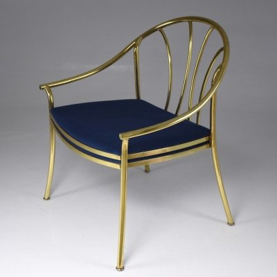 20th Century French Vintage Brass Armchair, 1970-1980