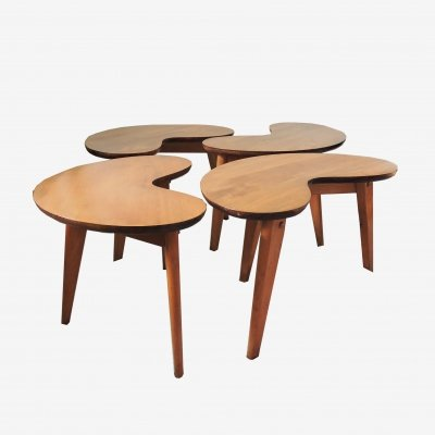 Set of 4 Vintage Mid-Century Kidney Shaped Side Tables, 1960s