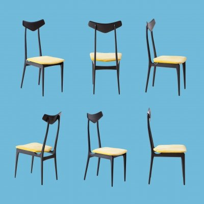 Set of 6 Italian Mahogany & Yellow Velvet Dining Chairs, 1950s
