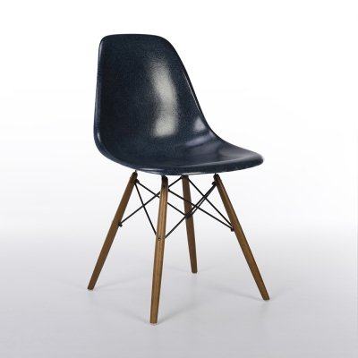 Navy Blue Herman Miller Original Vintage Eames DSW Dining Side Chair