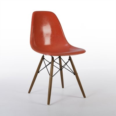 Orange Herman Miller Original Vintage Eames DSW Side Shell Chair, 1980