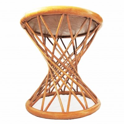 Cane & Rattan Woven Side Table, 1970s