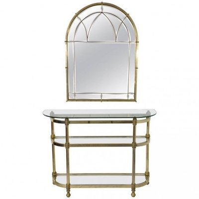 French Vintage Brass Mirror & Console, 1970s