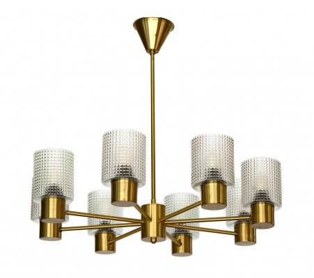 Brass eight arm chandelier with glass shades by HJA, Sweden 1960s