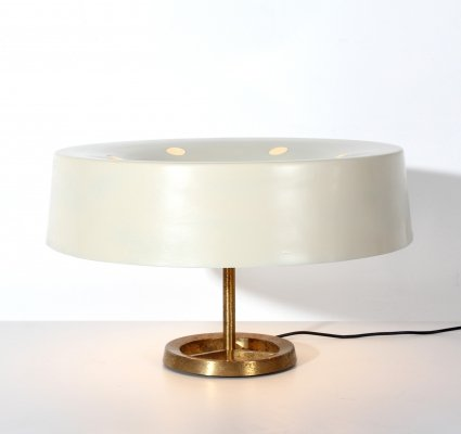 MidCentury white & brass Italian Table Lamp by Stilnovo, Italy 1950s