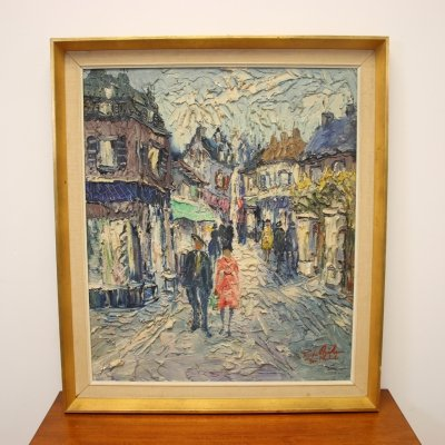Vintage French street scene Painting, 1960s