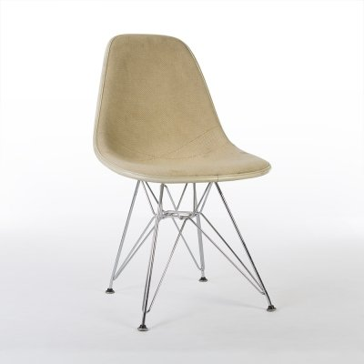 Parchment Herman Miller Original Vintage Eames Upholstered DSR Dining Side Chair