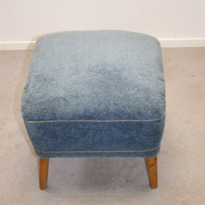 Pouf hocker in blue fabric, 1950s