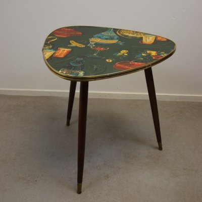 Vintage coffee table with printed top, 1960s