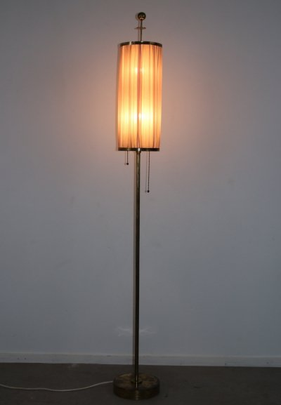 Bronze or brass Floor lamp with fabric shade, 1950s