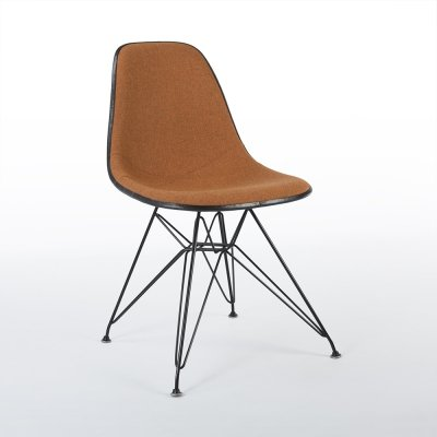 Orange Herman Miller Original Eames Upholstered DSR DIning Side Chair