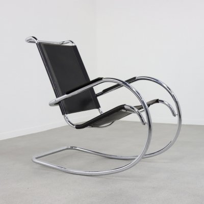 Bauhaus style rocking chair in patinated leather, 1960s