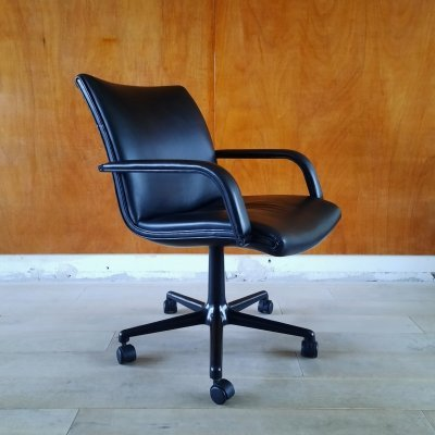 Black Leather Office Chair by Geoffrey Harcourt for Artifort, 1980s