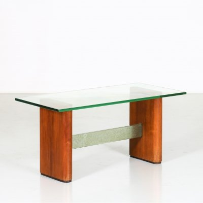 Italian MidCentury coffee table in glass & wood, 1950s