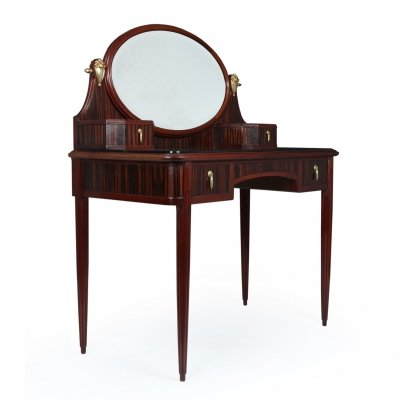 French Art Deco Macassar Ebony Dressing Table with Gilt Bronze Mounts