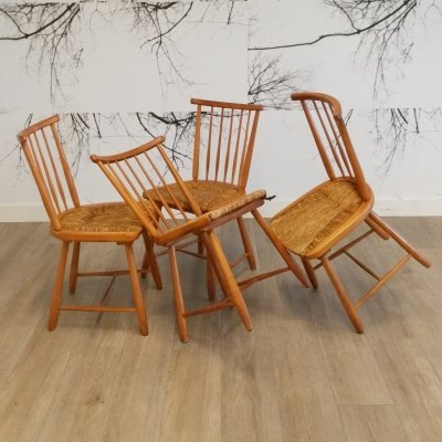 Set of 4 Spindle Back Dining Chairs by Arno Lambrecht for WK Möbel, 1950s