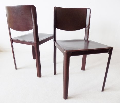 Set of 2 saddle leather dining chairs by Tito Agnoli for Matteo Grassi, 1980s