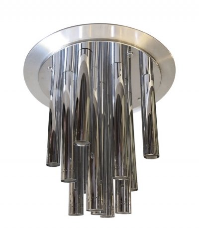 Huge Space Age Chrome Italian Thirteen Light Chandelier by Reggiani, circa 1970
