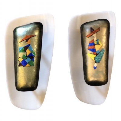 Mid-Century Modern set of Two Enamel on Copper Wall Sconces by Paolo De Poli, 1960s