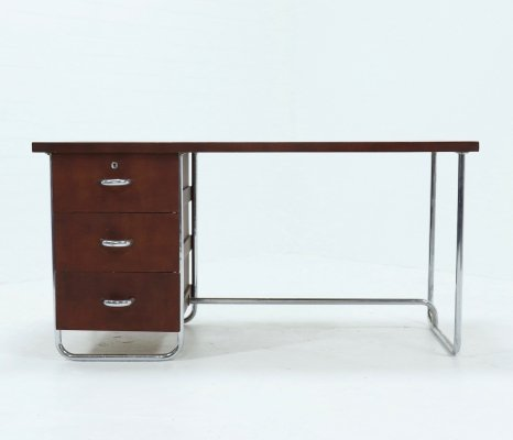 Mid Century Chromed Tubular steel & Beech Bauhaus Desk, 1920s