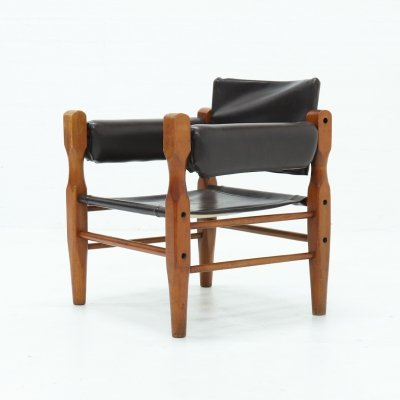 Mid Century Scandinavian Leather Safari Lounge Chair, 1960s