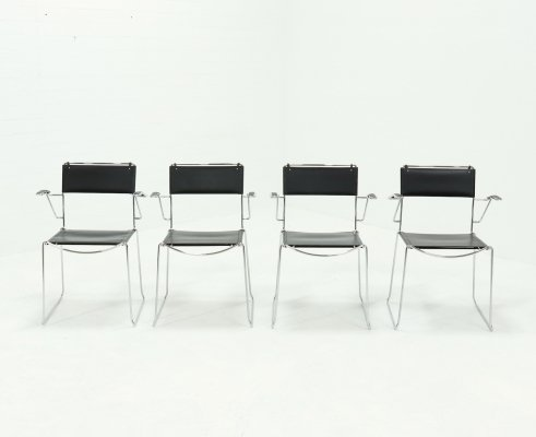 Set of 4 Italian Leather Dining Chairs by Giandomenico Belotti for Alias, 1980s