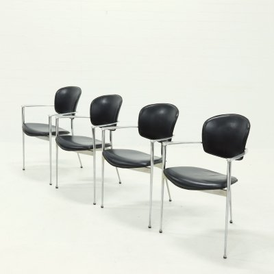 Set of 4 Andrea dining chairs by Josep LLusca for Andreu World, 1980s