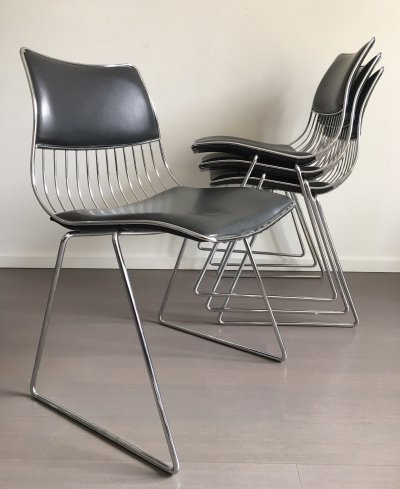 Set of 4 dining chairs by Rudi Verelst for Novalux Belgium, 1970s