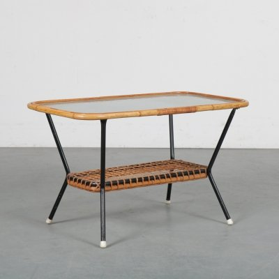 1950s Rattan with glass coffee table by Gebroeders Jonkers