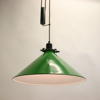 Large Green Hanging Lamp with Counterweight, 1960s