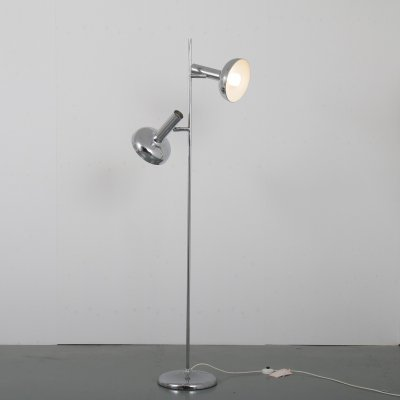 Chrome twin-head floor lamp by Bentler of Birkerød, Denmark 1960s