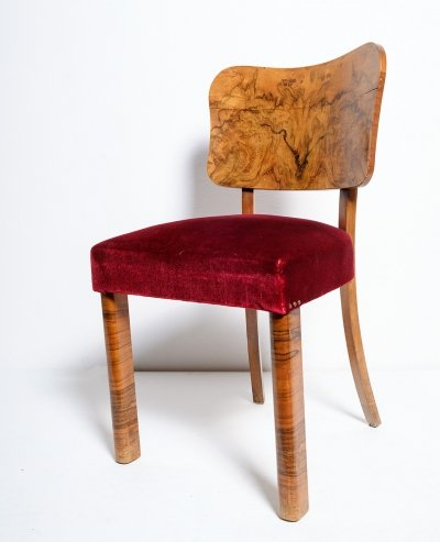 Set of 4 chairs in burl walnut & velvet fabric, 1930s