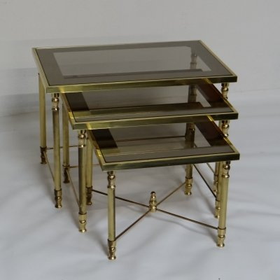 Gilded nesting tables, 1950s