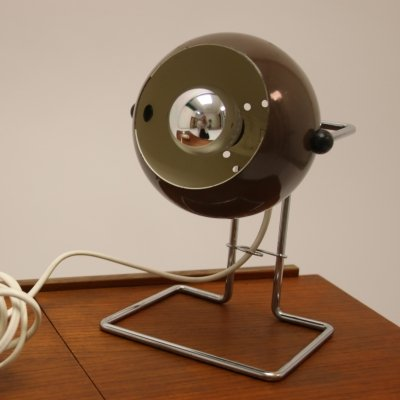 Scandinavian Brown ball table lamp, 1960s