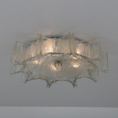 Iced glass ceiling lamp by Kaiser Leuchten, Germany 1960s