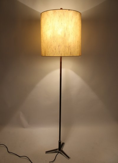 Chrome Floor lamp with rosewood wooden handle, 1960s