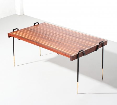 Italian Midcentury Low Extensible table in brass & wood, 1950s