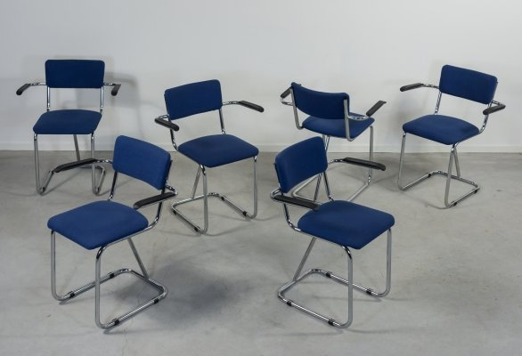 Set of 6 Gispen bauhaus armchairs model 207